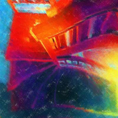 Staircase Painting - Descending The Stardust Stairway by RC deWinter