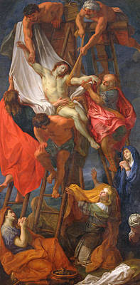 Crucifix Painting - Descent From The Cross by Charles Le Brun