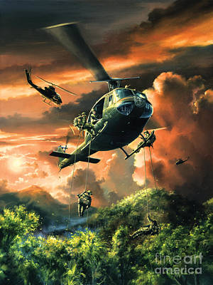 Helicopters Painting - Descent Into The A Shau Valley by Randy Green