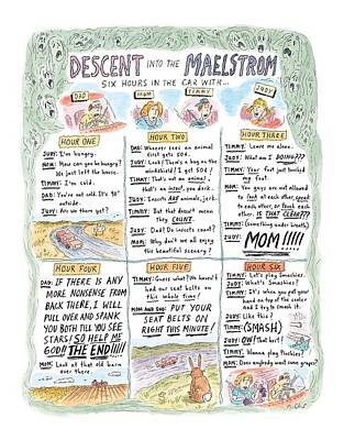 Family Car Drawing - Descent Into The Maelstrom by Roz Chast