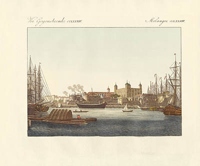 Tower Of London Drawing - Description Of The Tower Of London by Splendid Art Prints