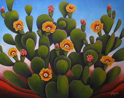 Prickly Pear Painting - Desert Beauty by Gayle Faucette Wisbon