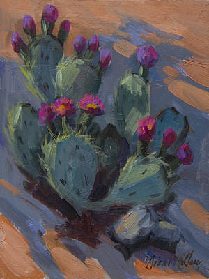 Beaver Painting - Desert Beaver Tail Cactus by Diane McClary