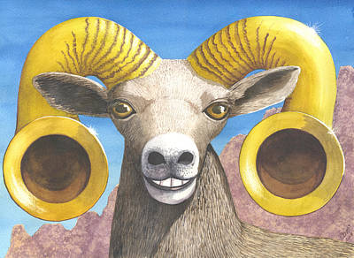 Trumpet Painting - Desert Bighorn by Catherine G McElroy