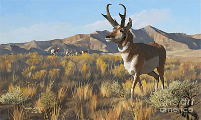 Print featuring the painting Desert Buck by Rob Corsetti