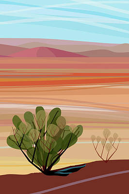 Photograph - Desert, Cactus Brush, Mountains In by Charles Harker