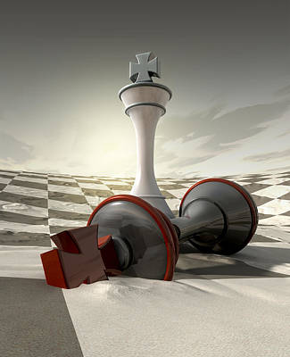 Defeated Digital Art - Desert Chess Defeat by Allan Swart