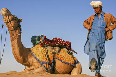 Desert Dance Of The Dromedary And The Camel Driver Art Print