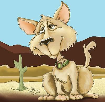 Desert Digital Art - Desert Dog by Hank Nunes