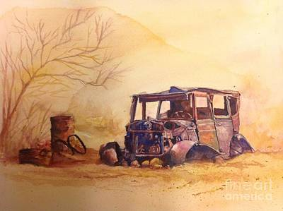 Old Junk Car Painting - Desert Dweller by Wendy Hill