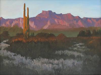 Painting - Desert Sunset Glow by Bill Tomsa