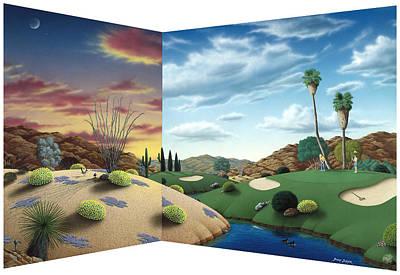 Desert Golf Art Print by Snake Jagger