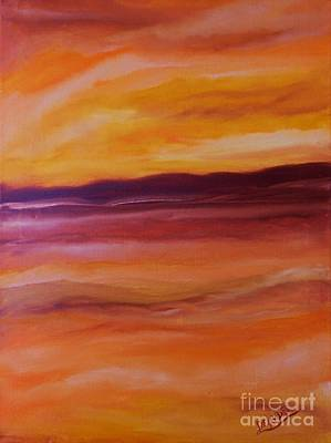 Amber Desert Painting - Desert Heat by Mary DeLawder