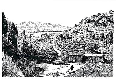Horse Shed Drawing - Desert Home by Joseph Juvenal