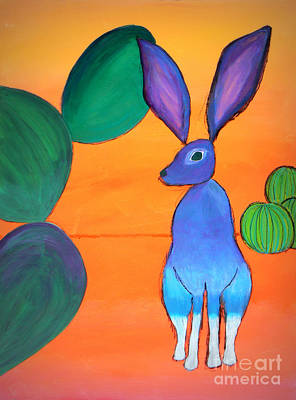 Prickly Pear Painting - Desert Jackrabbit by Karyn Robinson