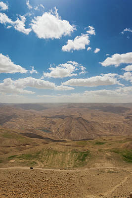 Jordan Photograph - Desert Landscape By The Tannur Dam by Panoramic Images