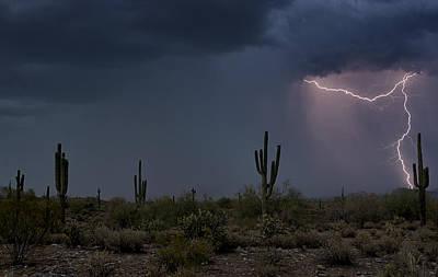 Desert Lightning  Art Print by Saija  Lehtonen