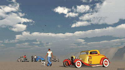 Hot Rod Mixed Media - Desert Meeting by Ken Morris
