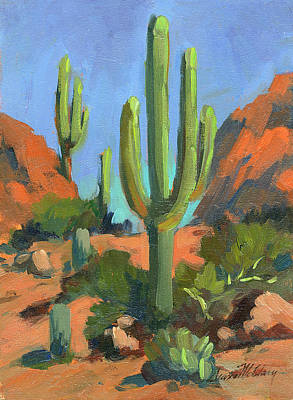 Desert Morning Saguaro Print by Diane McClary
