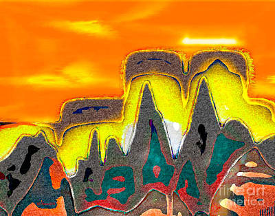 Digital Art - Desert Mountain Abstract by Dee Flouton