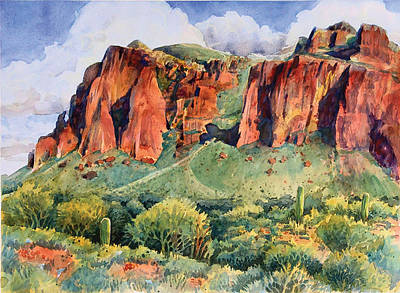 Apache Drawing - Desert Mountain Highlands by Kent Looft