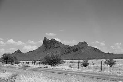 Photograph - Desert Mountains Black And White by Mez
