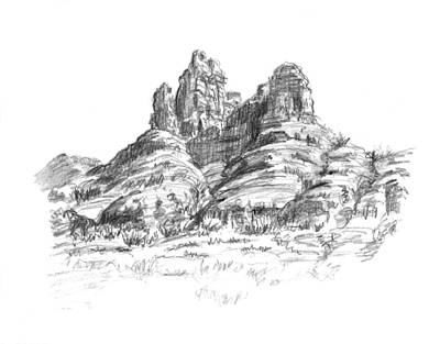 Grand Canyon Drawing - Desert Mountains by Sarah Parks