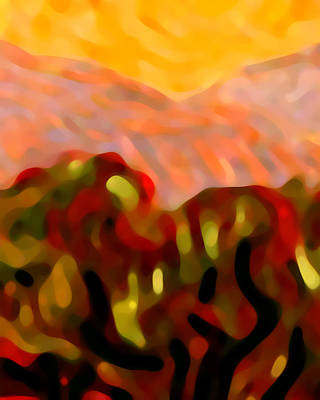 Abstract Movement Painting - Desert Olive Trees by Amy Vangsgard