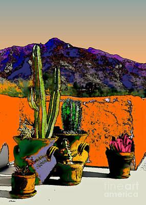 Tucson Digital Art - Desert Patio Pots by Linda  Parker