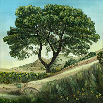 Mountainside Painting - Desert Pine by Angeles M Pomata