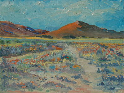 Desert Spring Flowers With Orange Hill Art Print