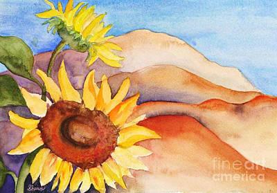 Art Print featuring the painting Desert Sunflower by Shirin Shahram Badie