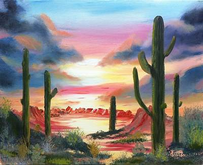 Desert Sunrise Print by Roy Gould