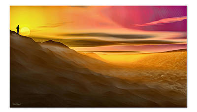 Art Print featuring the digital art Desert Sunset by Tyler Robbins