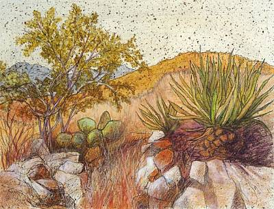 Prickly Pear Painting - Desert Vegetation by Candy Mayer