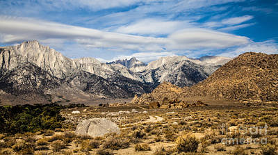 Photograph - Desert View Of Majestic Mount Whitney Mountain Peaks With Clouds by Jerry Cowart