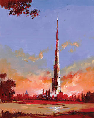 Dubai Skyline Painting - Desert Wonder by Art Tantra