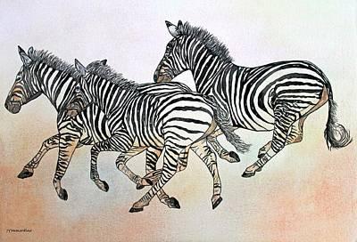 Desert Zebras Art Print