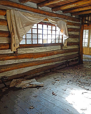 Deserted Log Cabin Interior - Light Through The Window Art Print by Rebecca Korpita