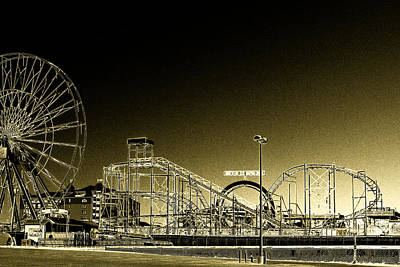 Photograph - Deserted Ocean City Amusement Pier Painted Gold by Bill Swartwout