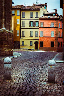 Photograph - Deserted Street With Colored Houses In Parma Italy by Silvia Ganora