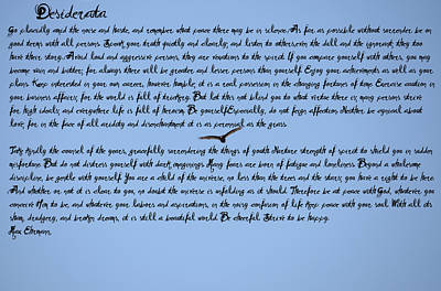 Adele Digital Art - Desiderata by Bill Cannon
