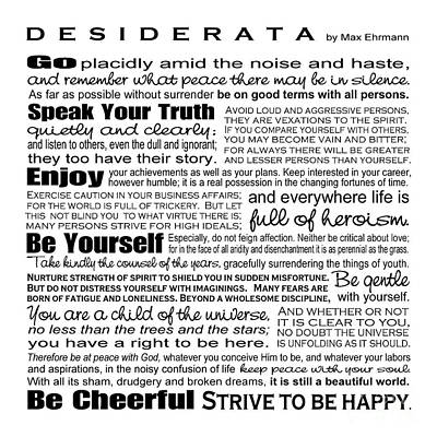 Typographic Digital Art - Desiderata - Black And White Square by Ginny Gaura
