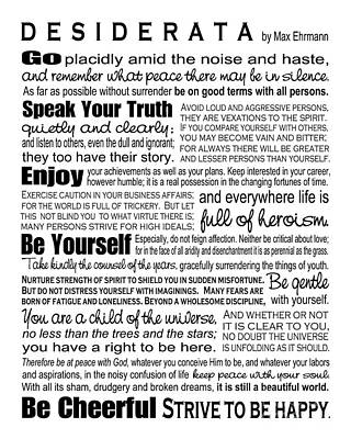 Desiderata - Black On White Art Print