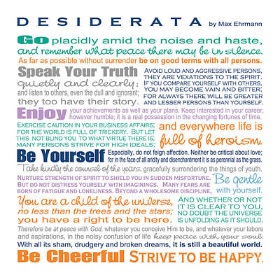 Digital Art - Desiderata - Multi-color - Square Format by Ginny Gaura