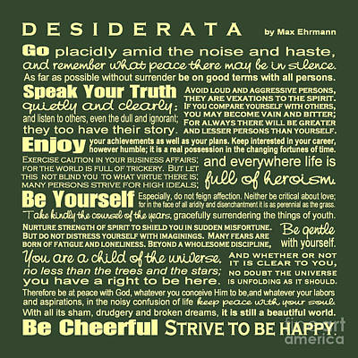 Digital Art - Desiderata - Green by Ginny Gaura