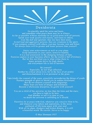 Prose Digital Art - Desiderata In Blue And White by Scarebaby Design