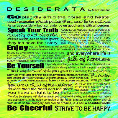Digital Art - Desiderata - Landform Square Design by Ginny Gaura