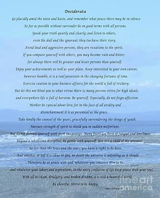 Desiderata On Beach And Ocean Scene Art Print by Barbara Griffin