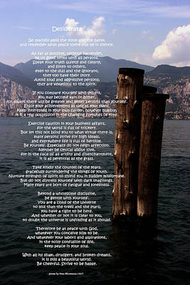 Photograph - Desiderata On Lake View by Leena Pekkalainen